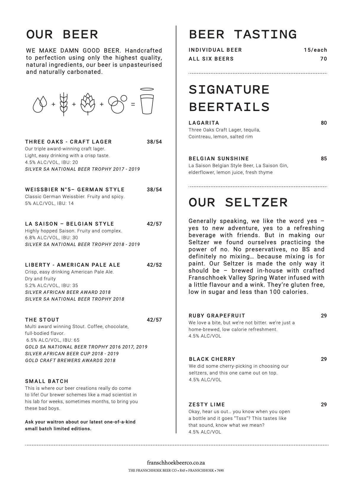 The Franschhoek Beer Company Menu